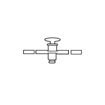 Двухсторонний кран, прямой, со стеклянной сердцевиной